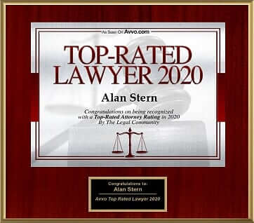 AVVO.com top rated lawyer 2020 website plaque for Alan Stern. Alan is a top rated personal injury attorney in Metro New York City