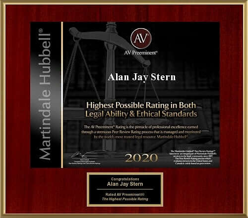 Plaque from Matinadale Hubbell honoring personal injuries lawyer Alan J Stern.