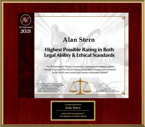 Alan J. Stern law firms gets recognized with the highest possible rating in both legal ability and ethical standards by AV Preeminent